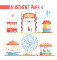 set of amusement park elements - modern vector image