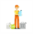 Smiling Mechanic With Oils Assortment In The vector image vector image