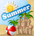 Summer card with sandcastle and ball
