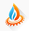 symbol fire with gear Orange and blue flame glass vector image