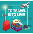 Travel concept Travel bags passport foto camera vector image vector image