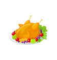 turkey thanksgiving traditional dish icon vector image