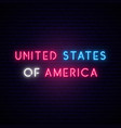 united states america neon sign bright light vector image vector image