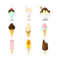 various ice cream type set vector image