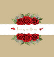 wedding invitation card floral red roses bouquet vector image