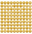 100 gear icons set gold vector image vector image