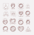 abstract heart vintage banner icon set monochrome vector image vector image