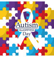 autism awareness day care integration cooperation vector image vector image