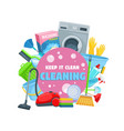 broom mop vacuum sponge and detergent spray vector image