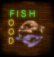 colorful neon fish food sign vector image vector image