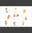 cute kids holding white blank boards in different vector image