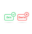 do s and don ts red and green badge vector image vector image