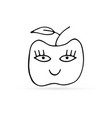 doodle linear apple silhouette with face vector image vector image