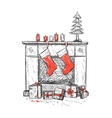 fireplace with socks vector image vector image