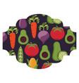 frame with vegetables pattern background vector image vector image