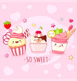 funny background with cute sweet icons in kawaii vector image vector image