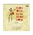 Girls retro calendar 2014 for your design february vector image vector image