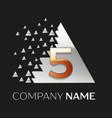 golden number five logo in silver pixel triangle vector image vector image