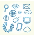 Hand drawn IT icons vector image vector image
