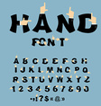 Hand font Pointing finger alphabet Businessman arm vector image