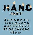 Hand font Pointing finger alphabet Businessman arm vector image