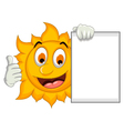 happy sun cartoon thumb up with blank sign vector image vector image