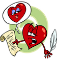 heart reading love poem cartoon vector image vector image