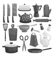 kitchenware or dishware utensils icons set vector image vector image