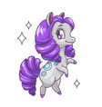 little cute standing horse with curly violet hair vector image vector image