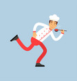 male chef cook character in uniform running with vector image vector image
