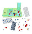 medicaments and box with dosage for day set vector image vector image