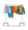 men casual warm clothes on hanger rack vector image vector image