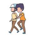men young characters walking cartoon vector image