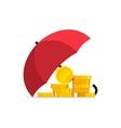 Money under umbrella concept of savings vector image vector image