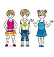 pretty little girls standing wearing fashionable vector image vector image