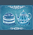 retro tea time with teapot and berry cake floral vector image