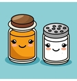 salt and honey bottles kawaii style vector image vector image