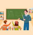 school teacher and children study in classroom vector image