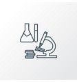 science research icon line symbol premium quality vector image