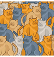 Seamless pattern of cute cartoon cats vector image