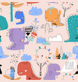 seamless pattern with cute cartoon dinosaurs on vector image vector image