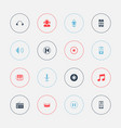set of 16 editable sound icons includes symbols vector image vector image