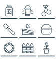 set of 9 plant icons includes floret barrier vector image vector image