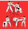 set of ju-jutsu fighters vector image