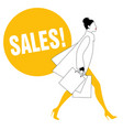 silhouette of fashionable woman with shopping vector image