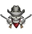Skull in cowboy hat vector image vector image