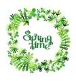Spring watercolor floral wreath vector image vector image