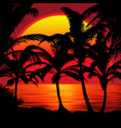 sunset beach with palms landscape vector image
