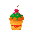 sweet christmas and new year cupcake with cherry vector image vector image