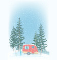 travel trailer parked in snowy weather blizzard vector image vector image